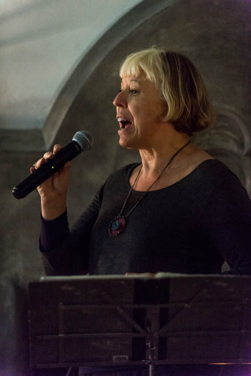 Exeter Street Hall, Writers In The Hall event, Feb 16 2016: Barb Jungr singing Don't Leave Me Now.