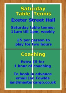 Saturday Table Tennis